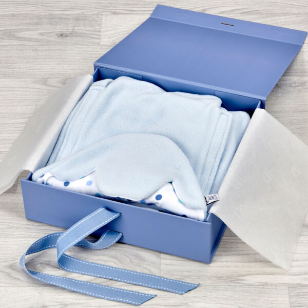blue morrck luxury keepsake boxes for baby gifts open