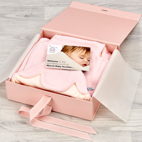 pink morrck luxury keepsake box for baby gifts open with card