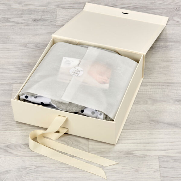 cream morrck luxury keepsake box for baby gifts wrapped with tissue