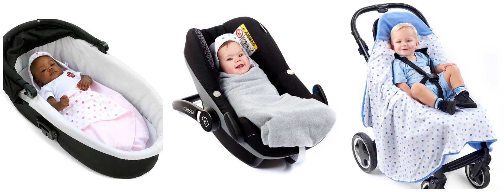 babies and toddler in morrck car seat blankets in carry cot car seat and buggy