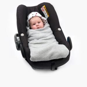 Silver All Season Baby Hoodie Wrap Car Seat wrapped