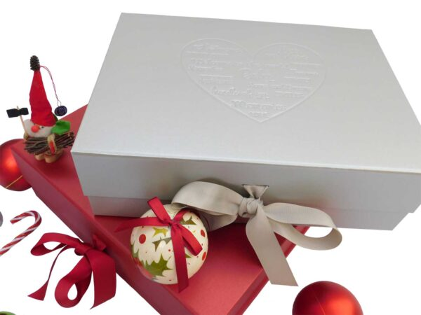 red and silver morrck gift boxes decorated for christmas
