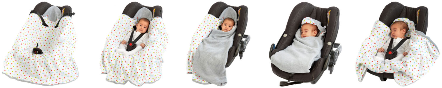 A morrck baby hooded car seat blanket in silver-grey-with-bright-spot-being wrapped in-car-seat