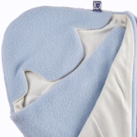 a morrck baby car seat blanket in pastel blue fleece and cream cotton jersey