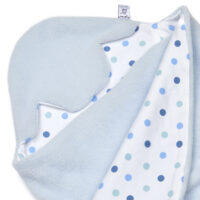 a morrck baby car seat blanket in pastel blue fleece and blue spot cotton jersey