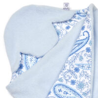 a morrck baby car seat blanket in pastel blue fleece and blue paisley cotton jersey