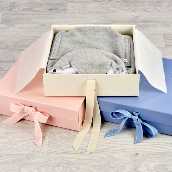 pink cream and blue morrck luxury keepsake boxes for baby gifts open