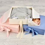pink cream and blue morrck luxury keepsake boxes for baby gifts open with card