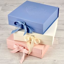pink cream and blue morrck luxury keepsake boxes for baby gifts