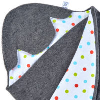 a morrck baby car seat blanket in charcoal fleece and bright spot cotton jersey