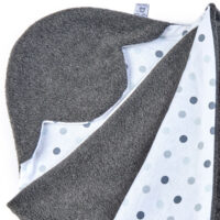 a morrck baby car seat blanket in charcoal fleece and triple grey spot cotton jersey