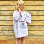 morrck splasha-pink-gingham-children's-towel-wrap