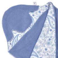 a morrck baby car seat blanket in china blue fleece and blue paisley cotton jersey