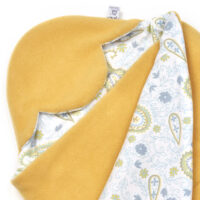 a morrck baby car seat blanket in custard fleece and grey paisley cotton jersey