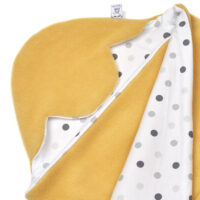 a morrck baby car seat blanket in custard fleece and triple grey spot cotton jersey