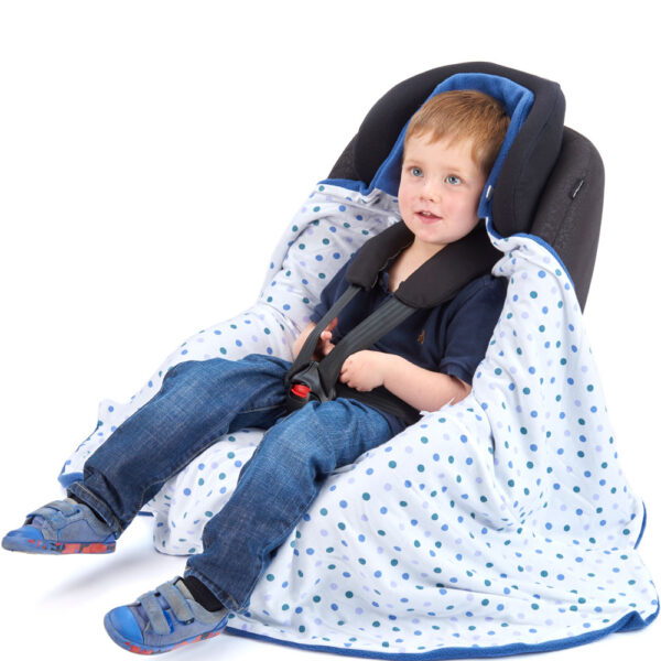 Blue All Season Toddler Travel wrap in Car Seat