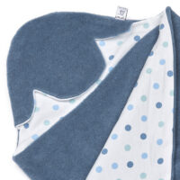 a morrck baby car seat blanket in denim grey fleece and blue spot cotton jersey