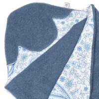 a morrck baby car seat blanket in denim grey fleece and blue paisley cotton jersey