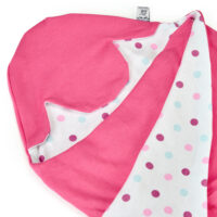 a morrck baby car seat blanket in fuschia and pink spot cotton jersey