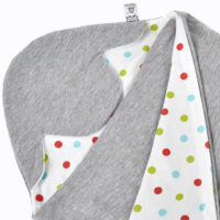 a morrck lightweight baby car seat blanket in grey marl and bright spot cotton jersey