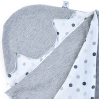 a morrck lightweight baby car seat blanket in grey marl and triple grey spot cotton jersey