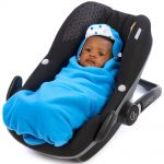morrck mediterranean-blue-bright-blue-spot-baby-car-seat-blanket-in-car-seat