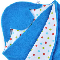 a morrck baby car seat blanket in mediterranean blue fleece and bright spot cotton jersey