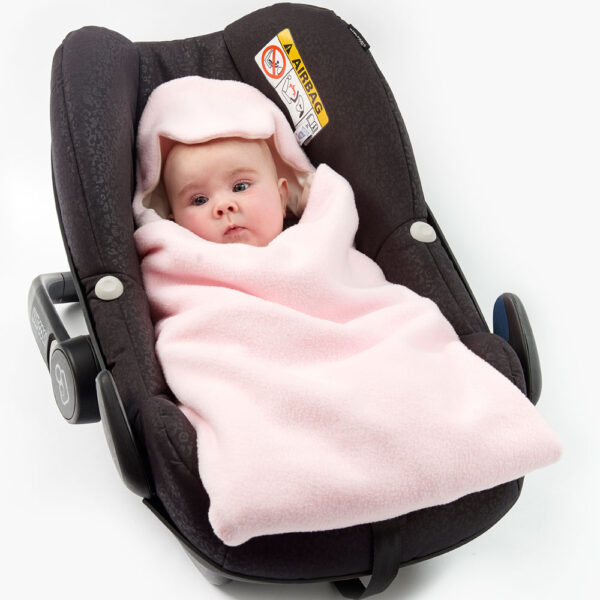 Pink Cream All Season Baby Hoodie in Car Seat wrapped fe86b7315