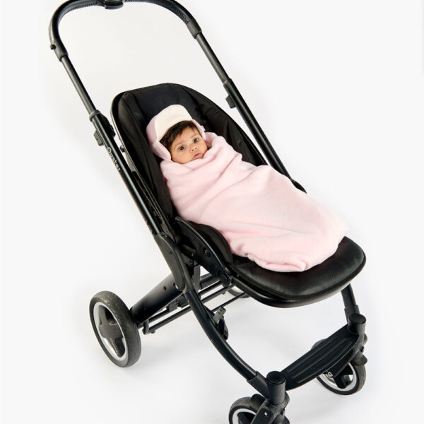 452d0fc9d1b Pink Cream All Season Baby Hoodie in Pushchair wrapped