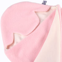 a morrck baby car seat blanket in pastel pink fleece and cream cotton jersey