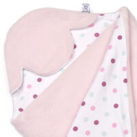 a morrck baby car seat blanket in pastel pink fleece and pink spot cotton jersey