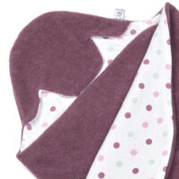 a morrck baby car seat blanket in plum fleece and pink spot cotton jersey