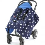 a morrck blue and navy rambler footmuff unwrapped in a buggy
