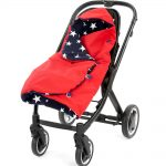 a morrck red and navy rambler footmuff wrapped in a buggy
