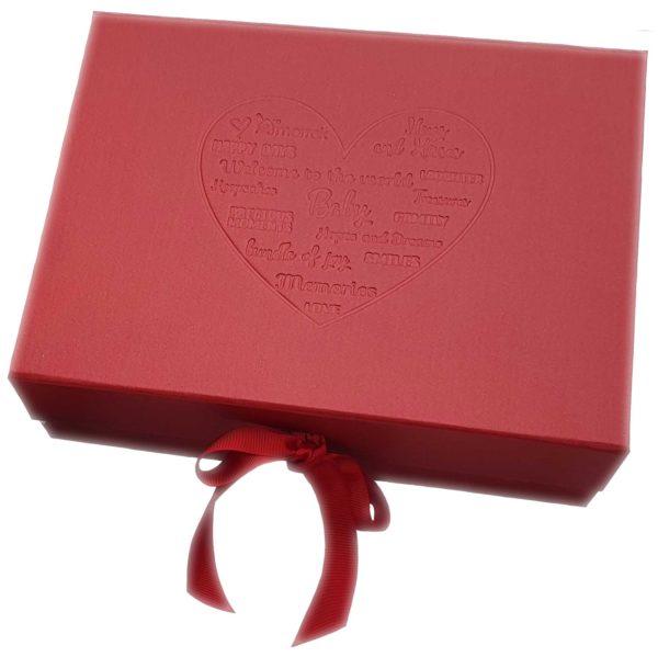 red gift box debossed