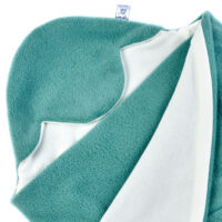 a morrck baby car seat blanket in sage fleece and cream cotton jersey