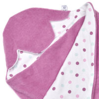 a morrck baby car seat blanket in sherbert pink fleece and pink spot cotton jersey