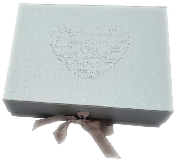 silver gift box with debossing