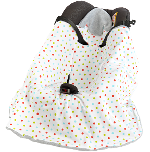 a morrck baby hooded car seat blanket in a car seat