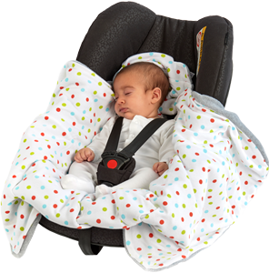 a morrck baby hooded car seat blanket in a car seat with babya morrck baby hooded car seat blanket in a car seat with baby unwrapped and asleep