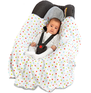 a morrck baby hooded car seat blanket in a car seat with baby