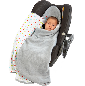 a morrck baby hooded car seat blanket in a car seat with baby partly wrapped