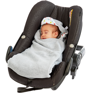 a morrck baby hooded car seat blanket in a car seat with baby wrapped