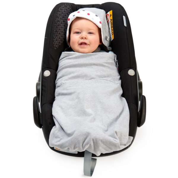 Silver Lightweight Baby Hoodie in car seat wrapped