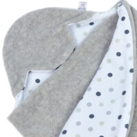 a morrck baby car seat blanket in silver grey fleece and triple grey spot cotton jersey
