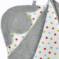a morrck baby car seat blanket in silver grey fleece and bright spot cotton jersey