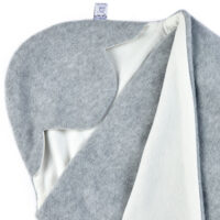 a morrck baby car seat blanket in silver grey fleece and cream cotton jersey