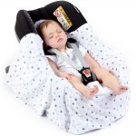 silver-with-triple-grey-spot-lightweight-baby-car-seat-blanket-in-car-seat-open