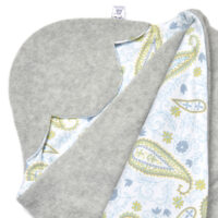 a morrck baby car seat blanket in silver grey fleece and grey paisley cotton jersey