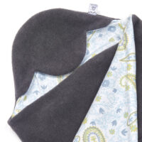a morrck baby car seat blanket in charcoal fleece and grey paisley cotton jersey